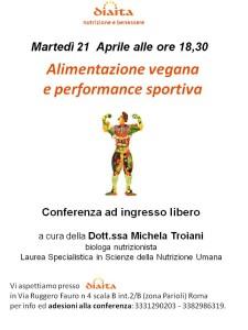 conferenza alimentazione vegana e performance sportiva